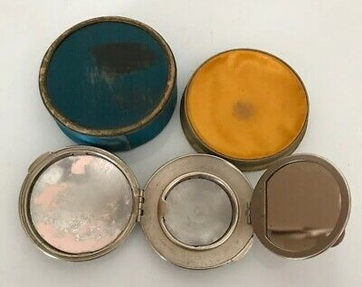 "Antique Silver Compact In Satin Box, ""Three Flowers"", Richard Hudnut, NY/Paris"