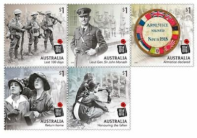 > 2018 Centenary Of World War 1 Ww1 - 1918, 5 Sheet Australian Franked Stamps