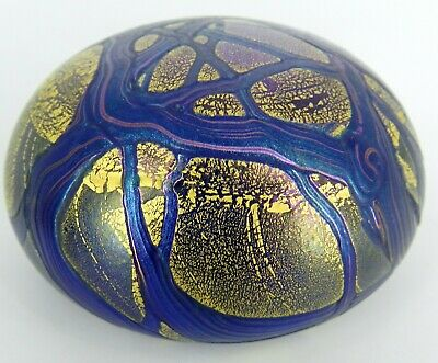 Isle Of Wight Art Glass England Paperweight Blue, Purple & Gold Iridescent