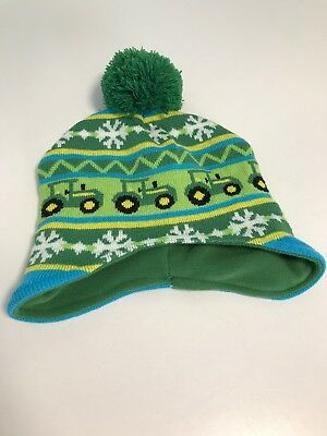 Toddler Fleece Lined Knit Toboggan Hat John Deere Tractor One Size Never  Worn 67e59a00a420