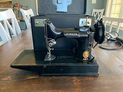 Vintage 1954 Singer Featherweight 221 Sewing Machine With Attachments Works!