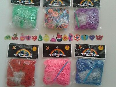 600 COLOURFUL RAINBOW LOOM RUBBER BANDS BRACELET MAKING KIT DIY & 2x CHARMS