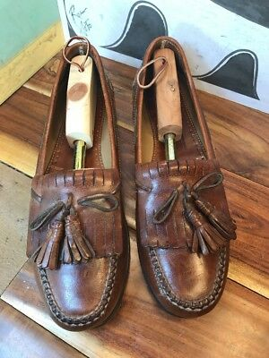 fe30fa938bbaff Johnston   Murphy Brown Leather Kiltie Tassel Loafers Men s 11.5B 2A ...