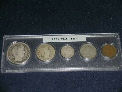 1904 Vintage Circulated Year Set - Nice 5-Coin Set