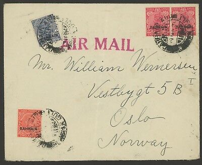 Bahrain Stamps Scott #6, #8 & #16 (x2) on Cover postmarked ?? (c 1939) to Norway