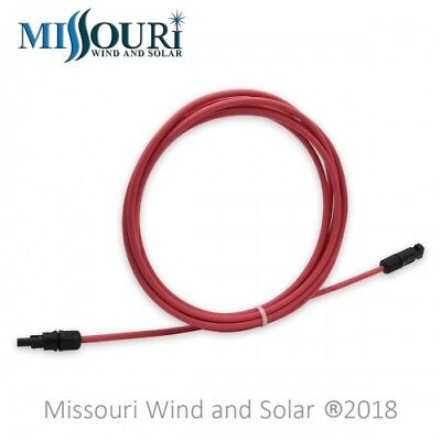 8-6 Pie Panel Solar PV Cables de Extensión MC4 Conectores - Cable 10 Awg - Rojo