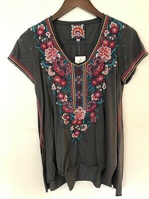 774fbd194783a JWLA s small voltage ANNALIESE DRAPE TOP Johnny Was new nwt floral  embroidery