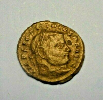 Ancient Roman Unidentified Bronze Coin. Emperor Head, Victory Statue Celebration