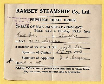 Ramsey Steam Ship Co coasters IOM shipping paperwork