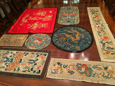 A Group of Eight Chinese Qing Dynasty Embroidered Silk Panels.