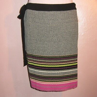 Missoni Wool Wrap Skirt~Knitted Knife Pleats~Black White Pink Green Border~4 da3ebec50a40