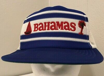 BAHAMAS VINTAGE TRUCKER Hat Snapback Mesh Cap Blue and White -  4.95 ... 55b911db5852