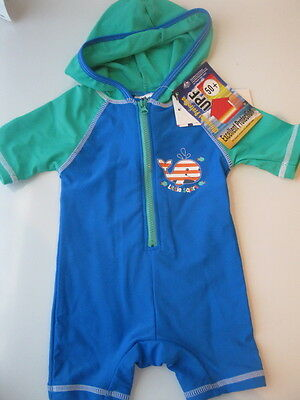 BNWT- WHALE Hooded Baby BOYS Swimwear Bathers Swimsuits 000 00  UPF 50+