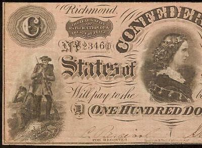 """1864 $100 Dollar Bill Confederate States Currency """"c"""" Note Old Paper Money Vf"""
