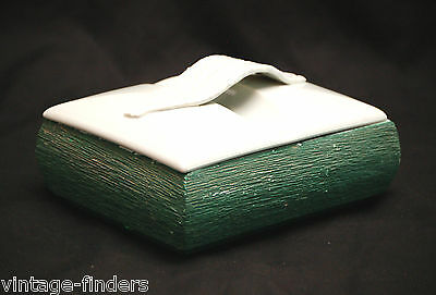 Old Vintage Green Ceramic Container w Lid Handcrafted Art Pottery 303 & 304 Decr
