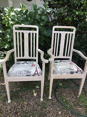 Pair Of Vintage Antique French Edwardian Carver Armchairs