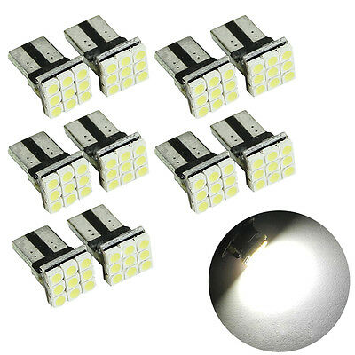 10X T10 LED 9SMD White Car License Plate Light Tail Bulb 2825 192 194 168 W5W US