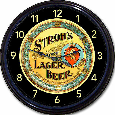 """Strohs Beer Tray Wall Clock Detroit MI Ale Lager Brew Pub Man Cave New 10"""""""