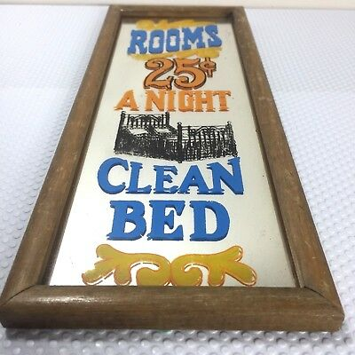 Vintage Novelty Bar Mirror - Rooms 25 cents A Night Clean Bed - Wooden Frame