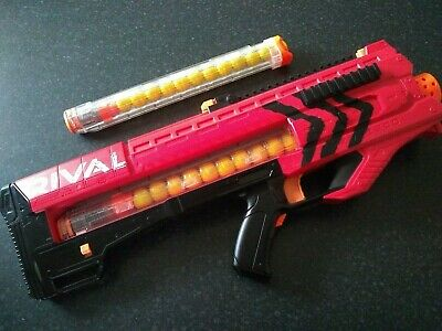 Nerf Rival Zeus MXV-1200 Blaster Gun 2 12 Clip Magazines 24 Rounds Balls - RED