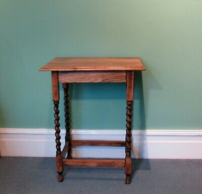 Antique solid oak wood side table with barley twist legs, lovely grain vgc