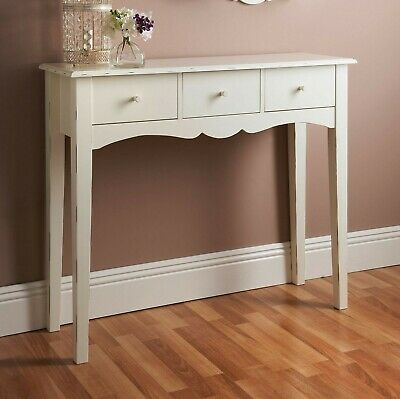Shabby Chic Wooden Console Hall Table Side End Dressing Desk W/ 3 Drawers