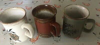 3 x Vintage Dunoon Stoneware Mugs 2 Floral And 1 Plain  Scotland
