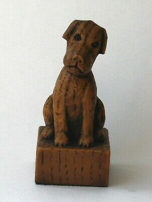 Church Verger's Dog Cute Collectable Hand Made Ornament Terrier Carving Giftware