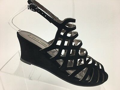 268a42dcc83 STEVEN BY STEVE Madden Bamba Black Suede Wedge Open Toe Pump Heels ...