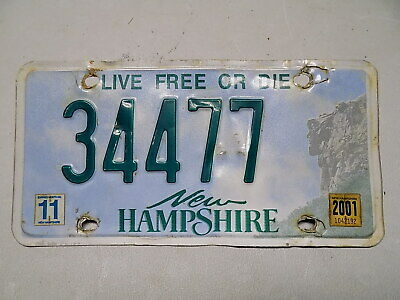 2001 New Hampshire License Plate 34477 Live Free or Die Old Man of the Mountain