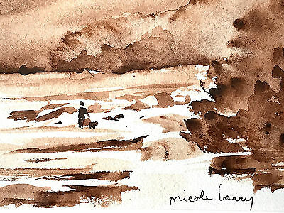 """Framed Watercolor Landscape Quebec Signed 6 3/4"""" X 4 1/2 """" By Nicole Barry"""