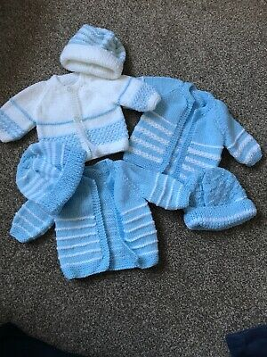 Premature Baby Boys Hand Knitted Cardigan And Hat Bundle