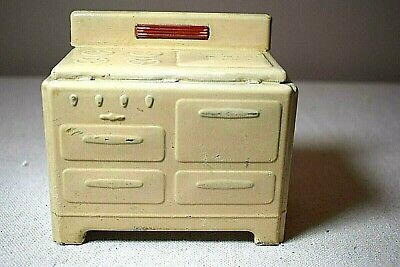 "Metal Oven Stove Vintage Dollhouse Furniture 4"" High 4.75"" Tall"