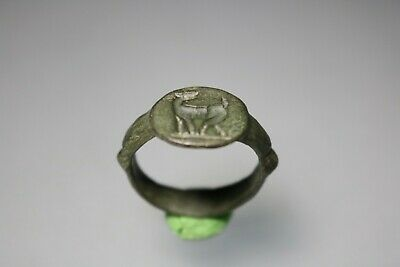 Ancient Interesting Roman Bronze Ring * Deer  1st - 4th century AD