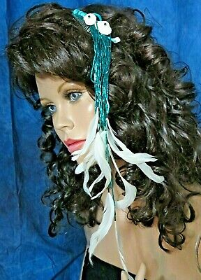 """Vintage HAIR COMB accessory BLUE Glass BEADS feathers SEASHELLS 17"""" long"""