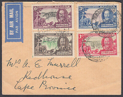 Southern Rhodesia 1935 Silver Jubilee Set on 1936 Airmail Cover to Cape Province