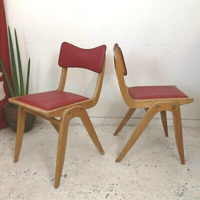 1 x Vintage Mid Century French Wooden Stacking School Dining Desk Chair