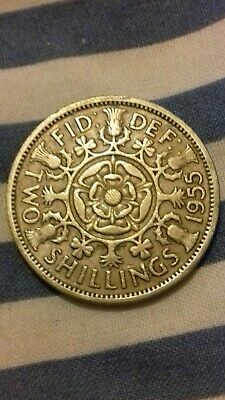 Dated : 1955 - Queen Elizabeth II - One Florin - Two Shillings Coin
