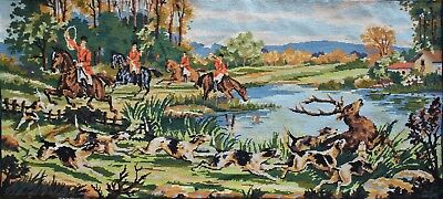 Vintage Hunt Scene Hunting Dogs Deer Stag Large Needlepoint Finished