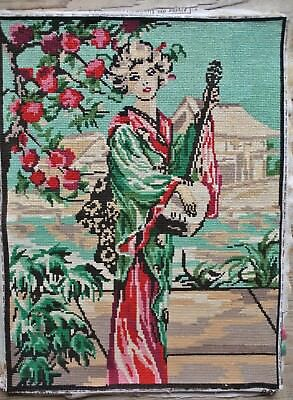Vintage Geisha Musical Instrument Mandolin Chinese 15 X 20 Needlepoint Completed
