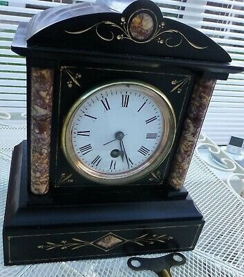 French Slate and Marble Mantel Clock, 8 Day Timepiece. Stamped  on Rear  A.1
