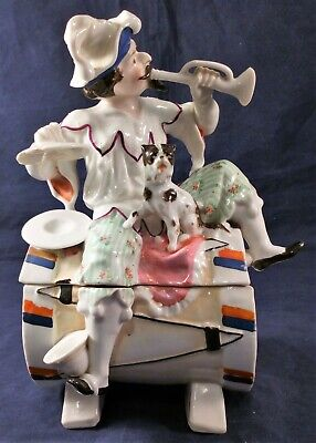 Conta and Boehme Porcelain Musician One Man Band Tobacco Jar Antique 19th C