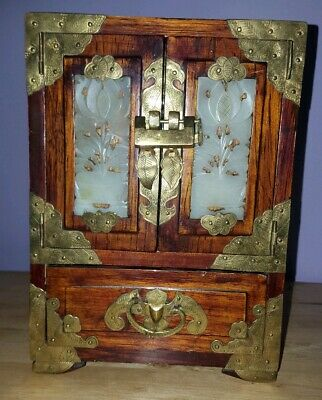 Vintage Chinese Wooden 4 Drawer Jewellery Cabinet Box Inlaid Jade Panels