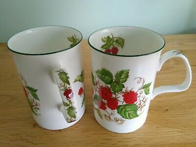 2 Vintage Bone China Roy Kirkham Raspberry Mugs