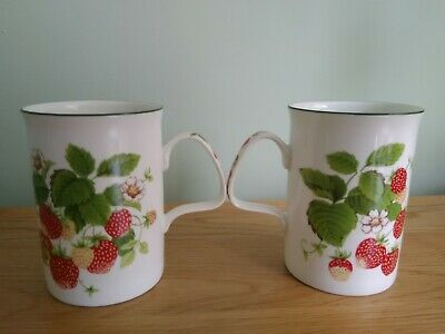 2 Vintage Bone China Roy Kirkham Strawberry Mugs