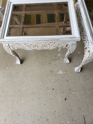 Beautiful Heavy Distressed  Glass Top End Tables
