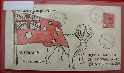 1944 - Hand Painted cover Patriotic Australia Invasion Day / Port Burwell ONT