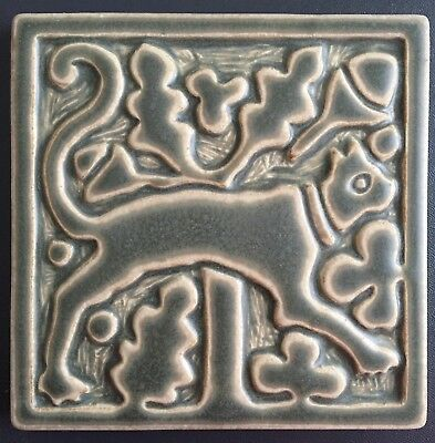 "Motawi Tileworks green relief art tile MEDIEVAL CAT 6"" x 6"""