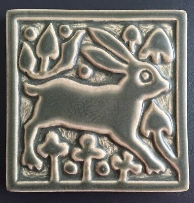 "Motawi Tileworks green relief art tile MEDIEVAL RABBIT 6"" x 6"""