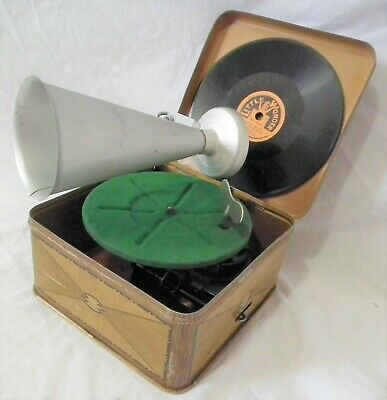 Rare Vintage Toy Size Bing Pigmyphone 78 Rpm Phonograph Gramophone Record Player